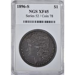1896-S MORGAN DOLLAR NGS  XF-AU