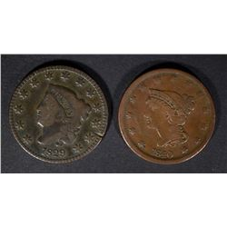 1829 VG+ & 1840 F/VF U.S. LARGE CENTS