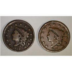 2-1837 LARGE CENTS: 1-VG & 1-VG/FINE