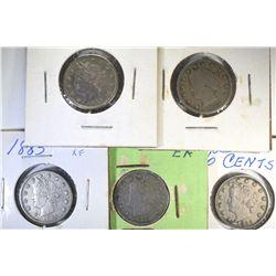 5-1883 Liberty Nickels: 1 W/C-VG & 4 N/C 3-XF 1-AU
