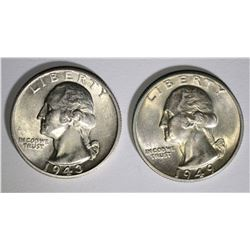 1943-S & 1949-D WASHINGTON QUARTERS, CH BU