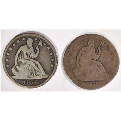 1856-O & 1877 SEATED HALF DOLLARS