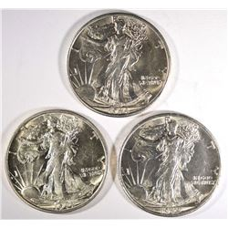 3-1944-S WALKING LIBERTY HALVES, CH BU BETTER DATE