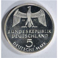 1971 GERMANY 5 MARK GEM PROOF