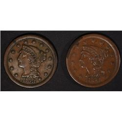 1854 VF/XF & 1853 VF LARGE CENTS