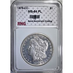 1878-CC MORGAN DOLLAR RNG CH BU PL