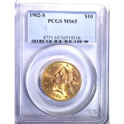 1902-S $10 GOLD LIBERTY PCGS MS65