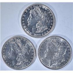 3 - AU/BU MORGAN DOLLARS; 1883, 1887,