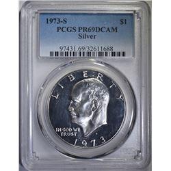 1973-S SILVER IKE DOLLAR PCGS PR69DCAM
