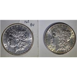 2 - BU MORGAN DOLLARS; 1886 & 1889