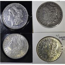 4 - MORGAN DOLLARS; 1882 AU/BU, 1897-O