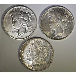 1882-S MORGAN XF, 2 - PEACE DOLLARS