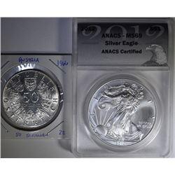 2012 AMERICAN SILVER EAGLE ANACS MS69