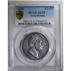 1836 GR BRITAIN 1/2 CROWN PCGS