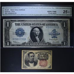 2pc CURRENCY; 1874 10c FRACTIONAL XF