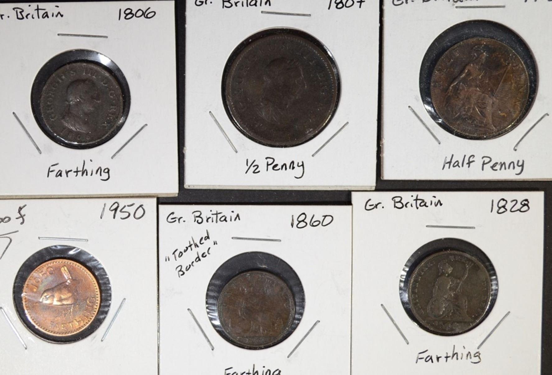 BRITISH COINS - HALF CENT to HALF CROWN
