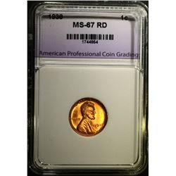 1938 LINCOLN CENT, APCG SUPERB GEM BU RED