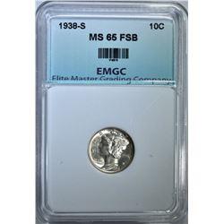 1938-S MERCURY DIME, EMGC GEM BU FSB