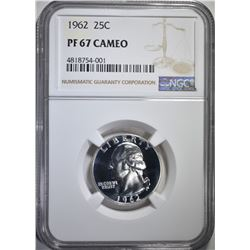 1962 WASHINGTON QUARTER, NGC PF-67 CAMEO