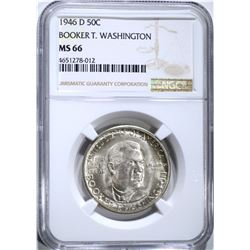 1946-D B.T. WASHINGTON HALF, NGC MS-66 SUPER!