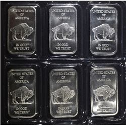 "6-1oz .999 SILVER BARS ""INDIAN/BUFFALO"
