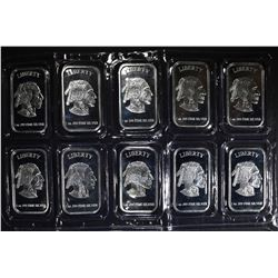 "10-1oz .999 SILVER BARS ""INDIAN/BUFFALO"""