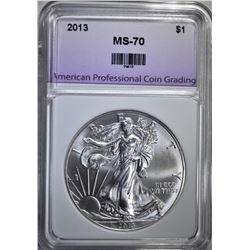 2013 AMERICAN SILVER EAGLE, APCG PERFECT GEM BU