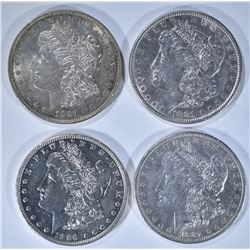 4 - MORGAN DOLLARS; 1881 AU, 1881-O XF/AU