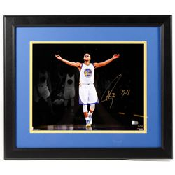 "Stephen Curry Signed LE Warriors 18x20 Custom Framed Photo Inscribed ""73-9"" (Fanatics Hologram)"