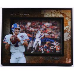 "John Elway Signed Broncos ""Prolific Passer"" 16x20x3 Custom Framed Shadowbox Display (UDA COA)"