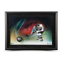 Joe Sakic Signed Avalanche Slap Shot 24x16 Custom Framed Display with Hockey Puck Breaking Through L