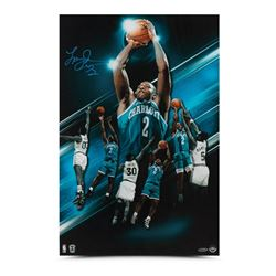 "Larry Johnson Signed Hornets ""Fadeaway"" 16x24 Photo (UDA COA)"
