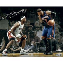 """LeBron James Signed Heat """"Match-Up vs Carmello Anthony"""" 16x20 Photo (UDA COA)"""