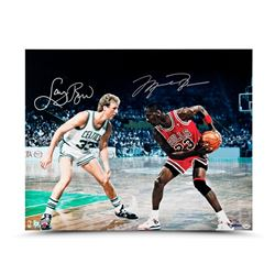 "Michael Jordan  Larry Bird Signed ""Battle Tested"" LE 16x20 Photo (UDA COA)"
