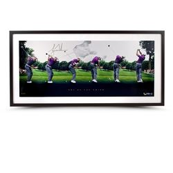 "Tiger Woods Signed ""Art Of The Swing"" LE 19x40 Custom Framed Photo Display (UDA COA)"