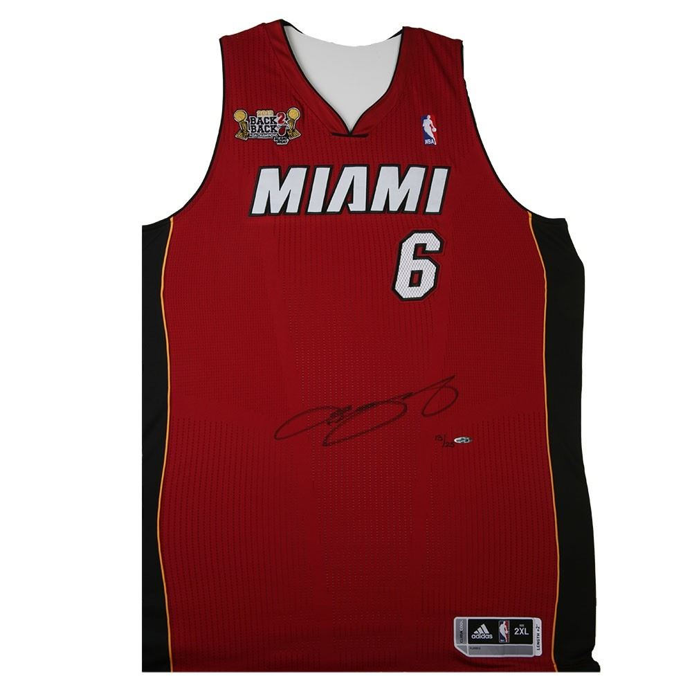 new photos fd7e8 81645 LeBron James Signed Heat Limited Edition Jersey with Back ...