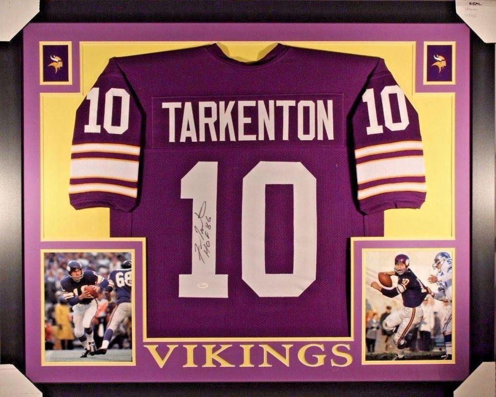finest selection 29699 da93d Fran Tarkenton Signed Vikings 35x43 Custom Framed Jersey ...
