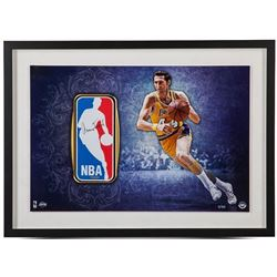 Jerry West Signed LE Lakers 16x24 Custom Framed NBA Logo Patch Display (UDA)