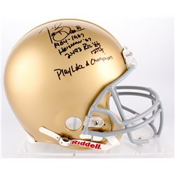 Tim Brown Signed Notre Dame Full-Size Authentic On-Field Helmet with (4) Career Stat Inscriptions  ""