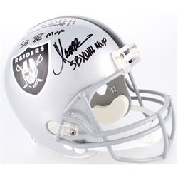 Jim Plunkett, Fred Biletnikoff  Marcus Allen Signed Raiders Full-Size Helmet With (3) Super Bowl MVP