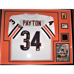 "Walter Payton Signed Bears 34x42 Custom Framed Jersey Inscribed ""Sweetness"", ""HOF 1993"", ""Super Bowl"