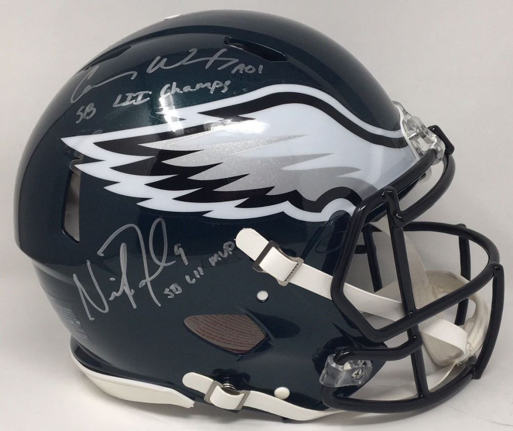 94879378e19 Image 1 : Nick Foles Carson Wentz Signed Eagles Super Bowl LII Speed  Authentic On-