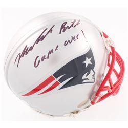 """Malcolm Butler Signed Patriots Mini-Helmet Inscribed """"Game Over!"""" (Radtke Hologram  Fanatics Hologra"""