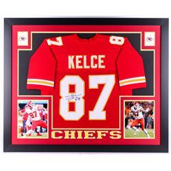 """Travis Kelce Signed Chiefs 35"""" x 43"""" Custom Framed Jersey (JSA COA)"""