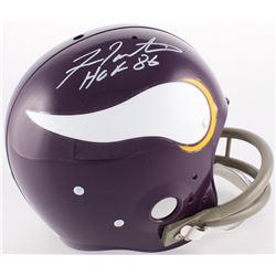 """Fran Tarkenton Signed Vikings Throwback Suspension Full-Size Helmet Inscribed """"HOF 86"""" (JSA COA)"""