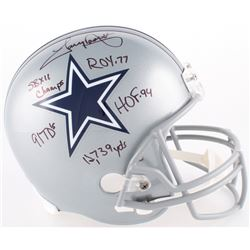 Tony Dorsett Signed Cowboys Full-Size Helmet With Multiple Inscriptions (JSA COA)