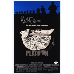 """Tom Berenger  Keith David Signed """"Platoon"""" 12x18 Movie Poster Inscribed """"What Do Y'all Know About De"""