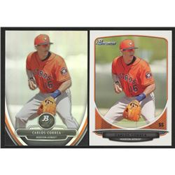 Lot of (2) Carlos Correa Cards with 2013 Bowman Platinum Prospects #BPP23 Carlos Correa  2013 Bowman