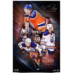 """Connor McDavid Signed """"2017 NHL Awards"""" Oilers 16x24 Photo (UDA COA)"""