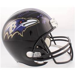 "Ray Lewis Signed Ravens Full-Size Helmet Inscribed ""H.O.F 18""  (Radtke COA  Lewis Hologram)"